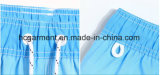 Tissu de 4 voies, circuits de plage de modèle estampés par couleur bleue pour l'homme