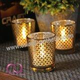 標準的なスライバ/Goldの中国のアイコンが付いている電気版のガラス蝋燭ホールダーの蝋燭のコップ