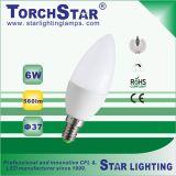 C37/F37 6W 알루미늄 플라스틱 열 싱크 E14 LED 초 전구