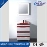 Großhandelsfußboden-stehender Plastikbadezimmer-Schrank mit Spiegel