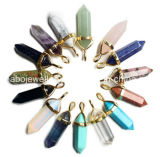 Boho Looking Gemstone Crystal Point Chaîne en cuir (XJW13610)