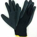 guanto del lavoro di sicurezza dei guanti del lattice ricoperto palma nera del poliestere 10g
