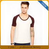 T-shirts en gros de chemise de Raglan de plaine de blanc de Mens