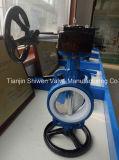 O tipo Ductile válvula da bolacha do assento do ferro PTFE de borboleta com caixa de engrenagens opera-se