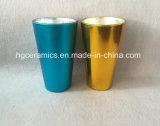 Caneca de vidro do pulverizador da cor, caneca do vidro do revestimento da cor