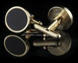 Boutons de manchette noirs de cuivre de fantaisie classiques de Mens de bijou de pierre d'agate