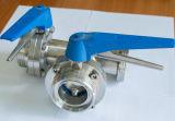 Vanne papillon multi de voie de type trois du contrôle T d'acier inoxydable avec le traitement de traction