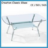 De Eettafel van het roestvrij staal met Glass Top