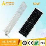 50watts LiFePO4 리튬 건전지를 가진 한세트 통합 태양 LED 가로등