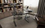 Glasc$l-form Innenministerium-Schreibtisch für Computer-Arbeitsplatz im Schwarzen