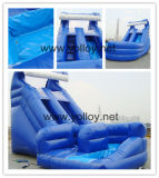 Big Blue U Turn Diapositiva de agua inflable con piscina