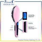 Mini spazzola elettrica del riscaldamento del raddrizzatore dei capelli dell'affissione a cristalli liquidi
