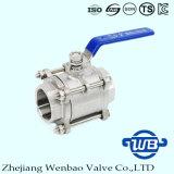 robinet à tournant sphérique fileté par femelle à haute pression de l'acier inoxydable 2-PC