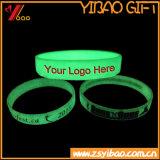 Incandescenza solida stampata disegno di Customed nel Wristband scuro del silicone/elastico