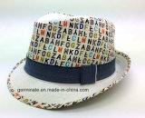 Fedora-Hut mit gedrucktem Gewebe auf Shell (YGF040)