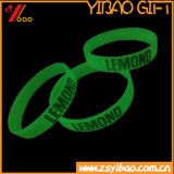 Resplandor sólido impreso diseño de Customed en el Wristband oscuro del silicón/la goma