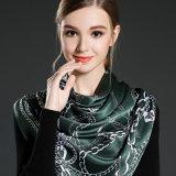 Reine Seide gedruckter Schal für Frauen-Grün