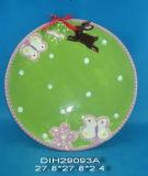 手塗りの陶磁器の円形キャンデーまたはクッキーの版