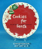 Piatto quadrato di ceramica dipinto a mano del biscotto della Santa