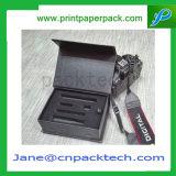 Rectángulo de regalo de empaquetado del embalaje del papel revestido de la herramienta magnética negra de encargo