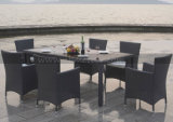 Rattan Furntiure ao ar livre que janta o &Chair de vime da tabela do jardim ajustado (MTC-145)