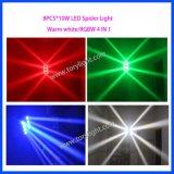 Licht van de LEIDENE Spin 8PCS*10W RGBW van DJ het Lichte