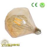 Filamento do diodo emissor de luz do bulbo 3.5With6.5W do diamante que escurece o bulbo E27 de vidro de Goldden