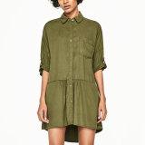 Form-Frauen-Freizeit-Taschen-Verband-Hülsen-T-Shirt gefaltetes Kleid