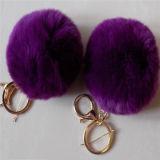 実質の毛皮POM Poms/Keychainsはかウサギの毛皮のPompons Keychain卸し売りする