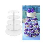 Banco di mostra acrilico rotondo libero della torta di compleanno di cerimonia nuziale del partito delle 5 file