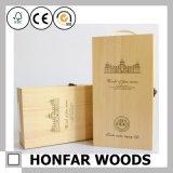 Caixa de empacotamento de madeira da caixa de armazenamento do vinho de 2 frascos