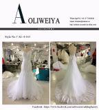 Fußboden-Längen-weißes Hochzeits-Kleid mit dünnen Brücken