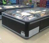 구부려진 유리제 뚜껑을%s 가진 바다 음식과 냉동 식품 전시 냉장고