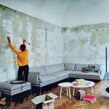 O sofá moderno americano do canto da tela do estilo ajustou-se para a sala de visitas (F1113#)