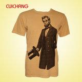 Camiseta corta de encargo de los hombres de la alta calidad de la funda de la alta calidad de los hombres de la camiseta al por mayor de la impresión