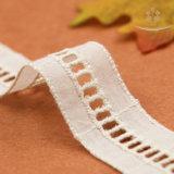H20001熱い販売の梯子デザイン方法綿のレースの衣類の装飾のための白い縞のレース