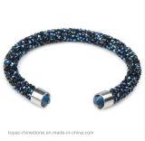 Única e pulseira de cristal dobro do bracelete de cristal pavimentado Rhinestone da câmara de ar para o homem e a jóia das mulheres (TB-única pulseira 001)