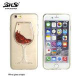 Caisse liquide rouge de téléphone mobile de la forme TPU de cuvette de vin pour iPhone7
