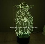 Luzes coloridas mestras novas da noite do diodo emissor de luz 3D de Star Wars Yoda