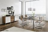 Moderne elegante ausgeglichenes Glas-Elefant-Speisetisch-rostfreie Beine (NK-DT277-1)