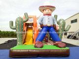 Heißer Verkaufs-aufblasbarer Cowboy Funcity, aufblasbares Cowboy-Thema-federnd Plättchen, aufblasbarer Cowboy-Prahler mit Plättchen