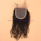 capelli ricci crespi indiani del grado 8A con i gruppi dei capelli umani della chiusura con la chiusura del merletto nessun Tangle&Shedding