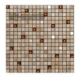 Mosaico de mármol natural de Shap de la flor mezclada del color en el azulejo de piedra (FYSP023)
