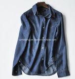 Chemise bleue de Lyocell de femmes