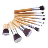 Blusher de bambú profesional Kabuki Brochas suave Maquillaje de la fundación de Pinceaux Maquillage de la sombra de ojo del conjunto de cepillos del maquillaje 11PCS
