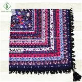 Квадратным шарф способа шали напечатанный хлопком с Tassel