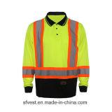 T-shirt 100% r3fléchissant élevé de sûreté de Vsibility de longue de chemise de polyester maille de Birdeye