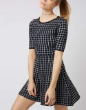 Camisola Dress do OEM Fashion das mulheres com Check Pattern