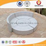 Base redonda do sofá do Rattan sintético com o Daybed ao ar livre da tabela e do dossel (UL-TDOU)
