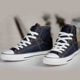 Alto Cut Flat Blue/Navy Leisure Vulcanized Canvas Shoes per Mens/Women